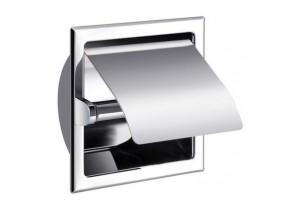 Built-in toilet roll holder with cover