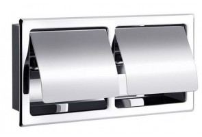 Double toilet roll holder with cover
