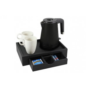 Hospitality Tray black leather with water kettle